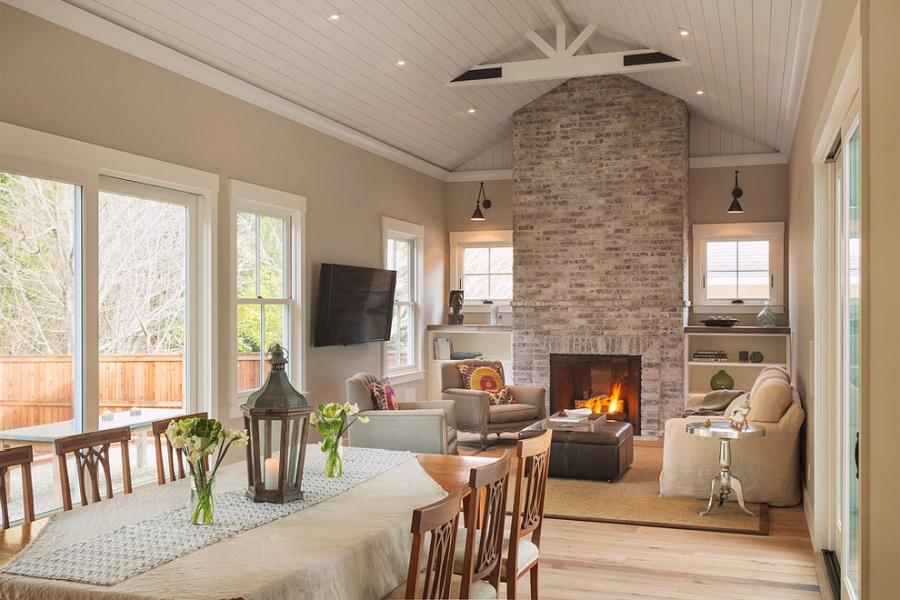Amerykański domek, wystrój wnętrz, wnętrza, urządzanie mieszkania, dom, home decor, dekoracje, aranżacje, styl amerykański, american style, styl klasyczny, classic style, kuchnia, salon, kitchen, living room