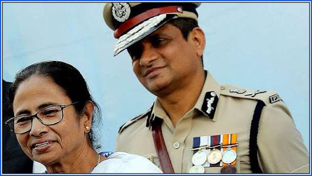 West Bengal Chief Minister with Kolkata Police Commissioner Rajeev Kumar