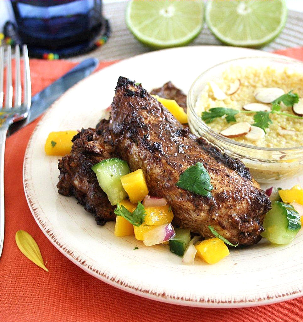 Jamaican Jerk Chicken with Mango Salsa and Creamy Coconut ...