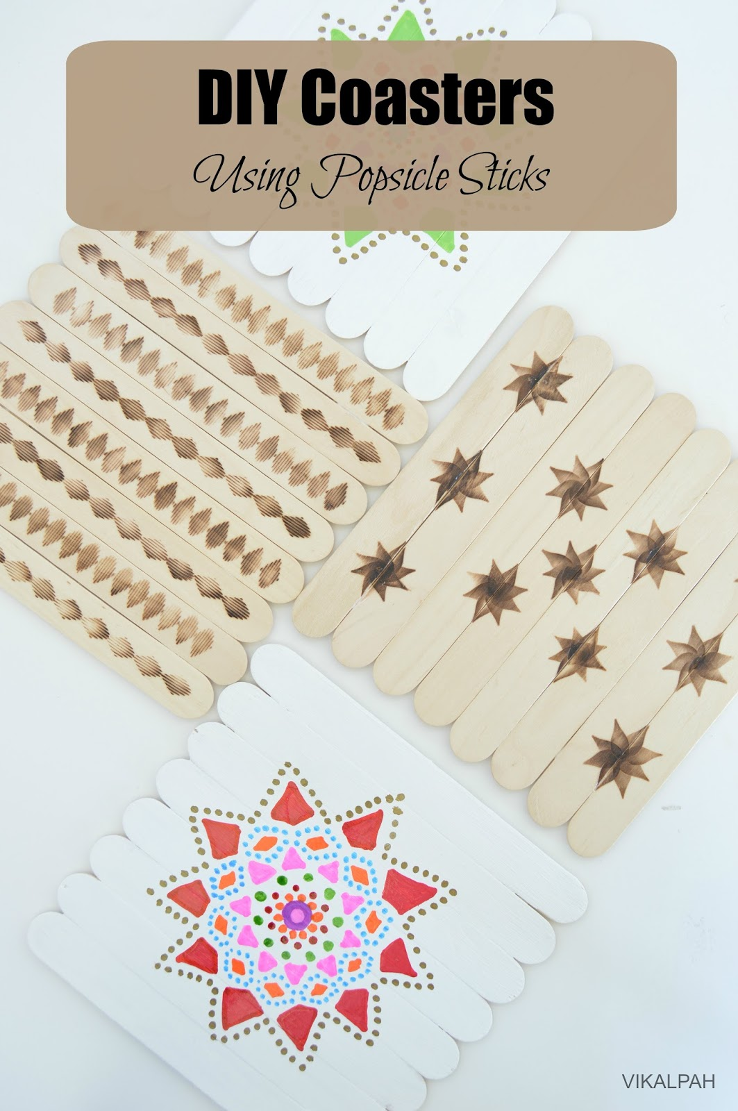 Popsicle Stick Coasters : popsicle, stick, coasters, Vikalpah:, Coasters, Using, Popsicle, Sticks, (Wood, Burning, Painting)