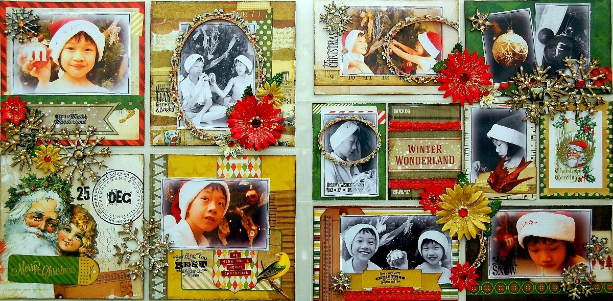 Merry Christmas Misc Me Page by Irene Tan using BoBunny Christmas Collage Collection