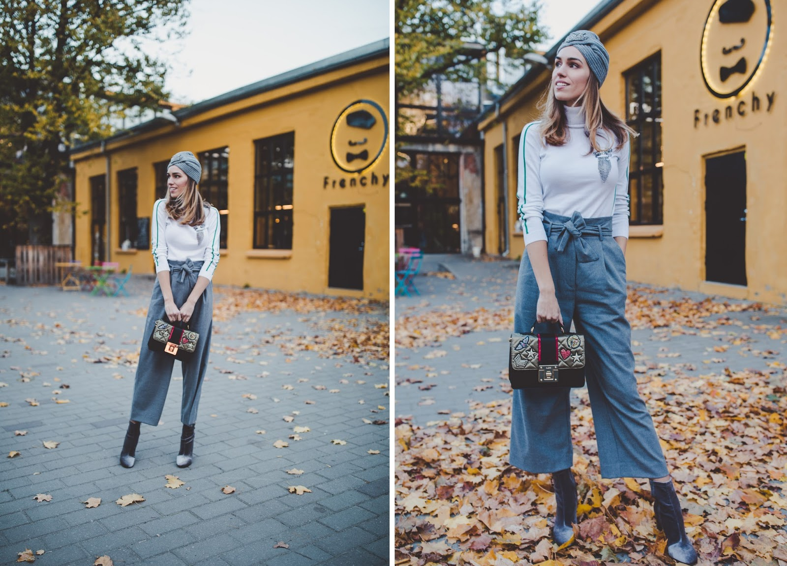 grey paperbag culotte pants fall outfit