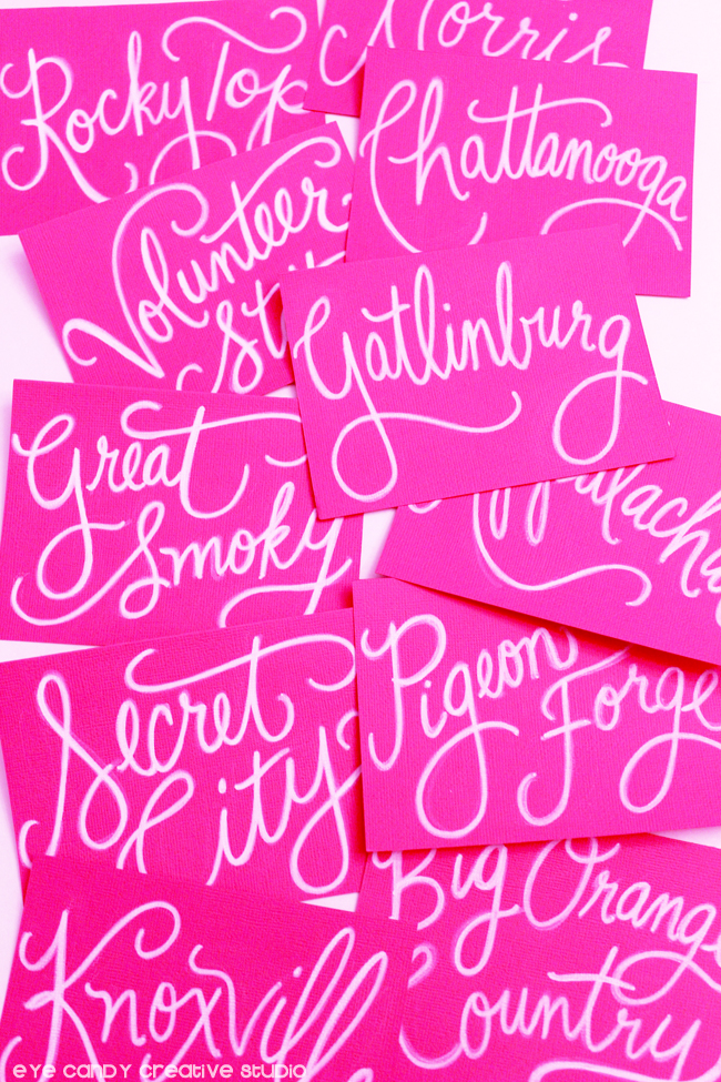 hand lettered table names, pink cardstock, tennessee, table assignments