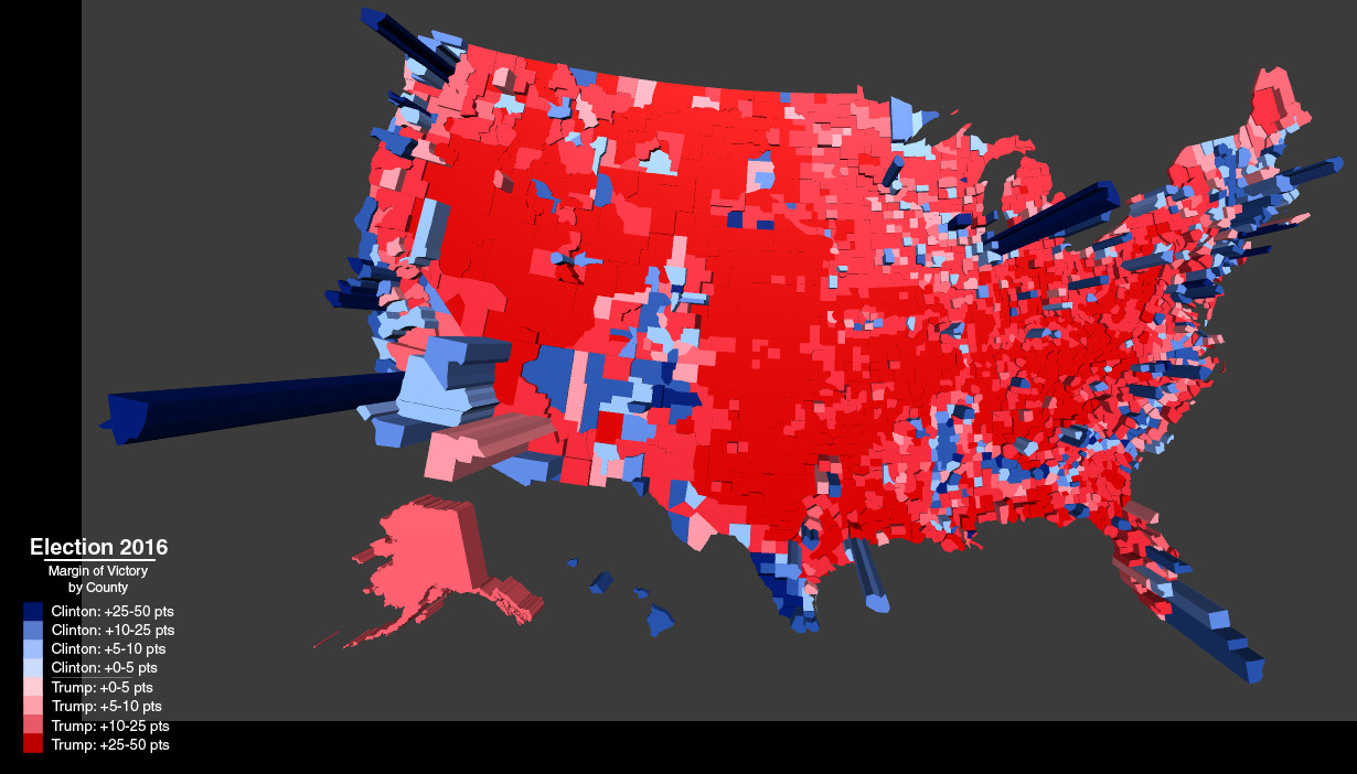 2016 presidential election results by county with result darkness of red blue and population height of column