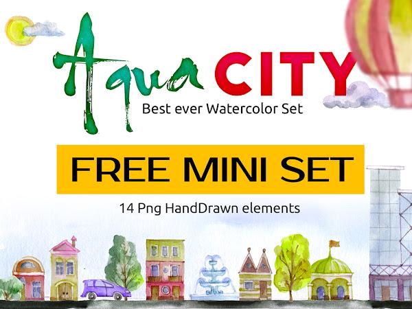 Watercolor Aqua City Set Free Download