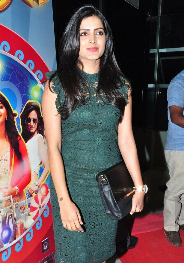 Beautiful Telugu Girl Pavani Gangireddy Long Hair Stills In Mini Green Dress