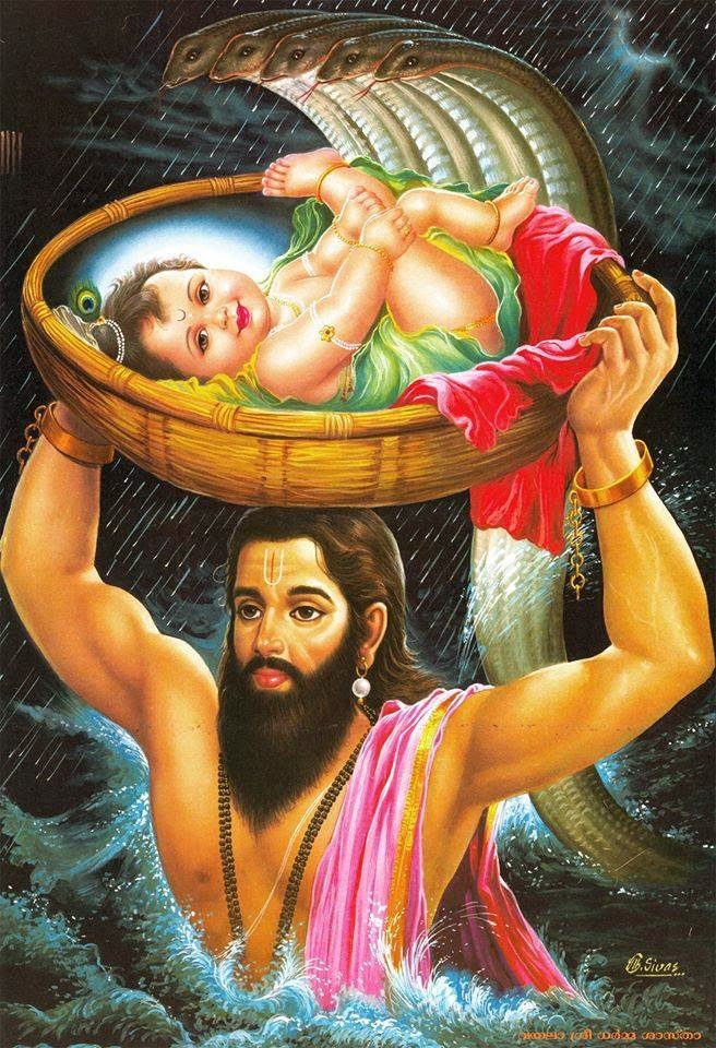 Vasudeva Carrying Baby Krishna Pictures