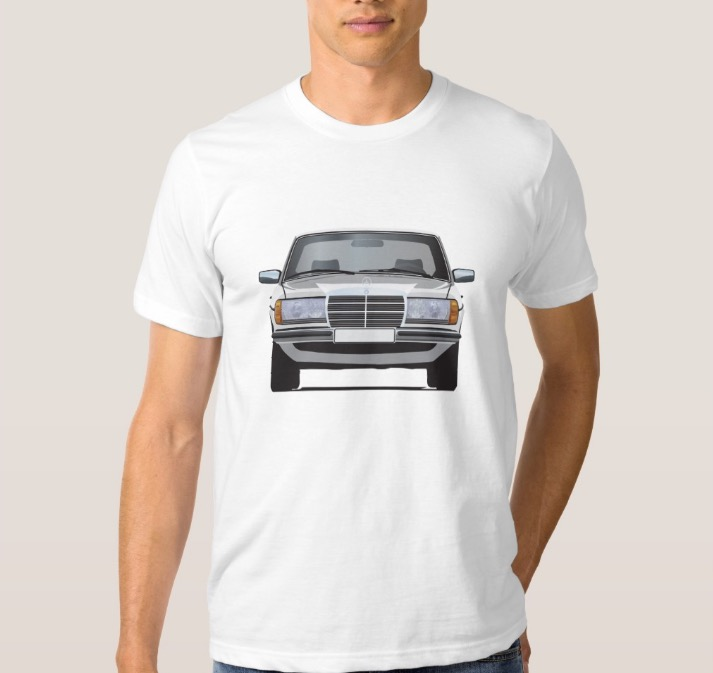 Mercedes benz w123 t shirt car illustrations printed on for Mercedes benz shirts
