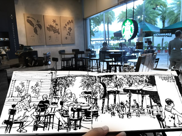 sketch of Starbucks Cafe