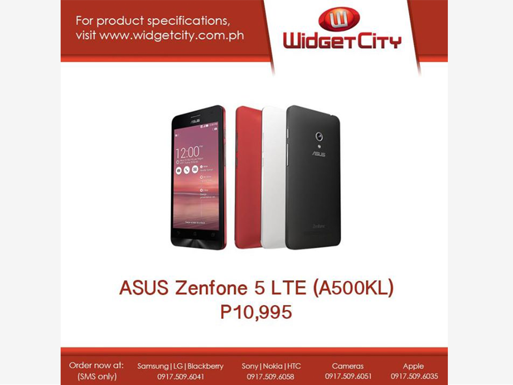 Asus Zenfone 5 LTE now available in PH thru Widget City