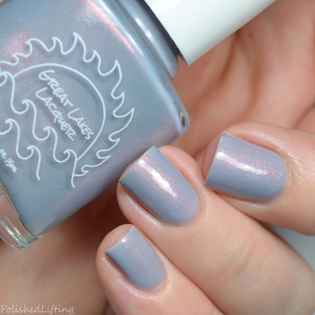gray nail polish with pink shimmer