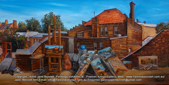 plein air oil painting of Pyrmont Post Office by industrial heritage artist Jane Bennett