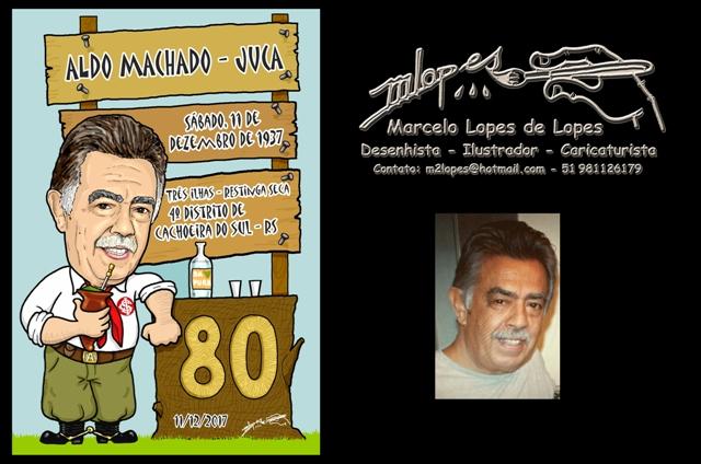 Caricatura do aniversariante para o convite, criação do Desenhista Marcelo Lopes de Lopes