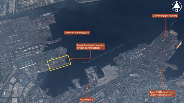 Image Attribute: Airbus Defence and Space imagery show an overview of Dalian shipyard in China. Source: CNES 2015, Distribution Airbus DS / 2015 IHS.