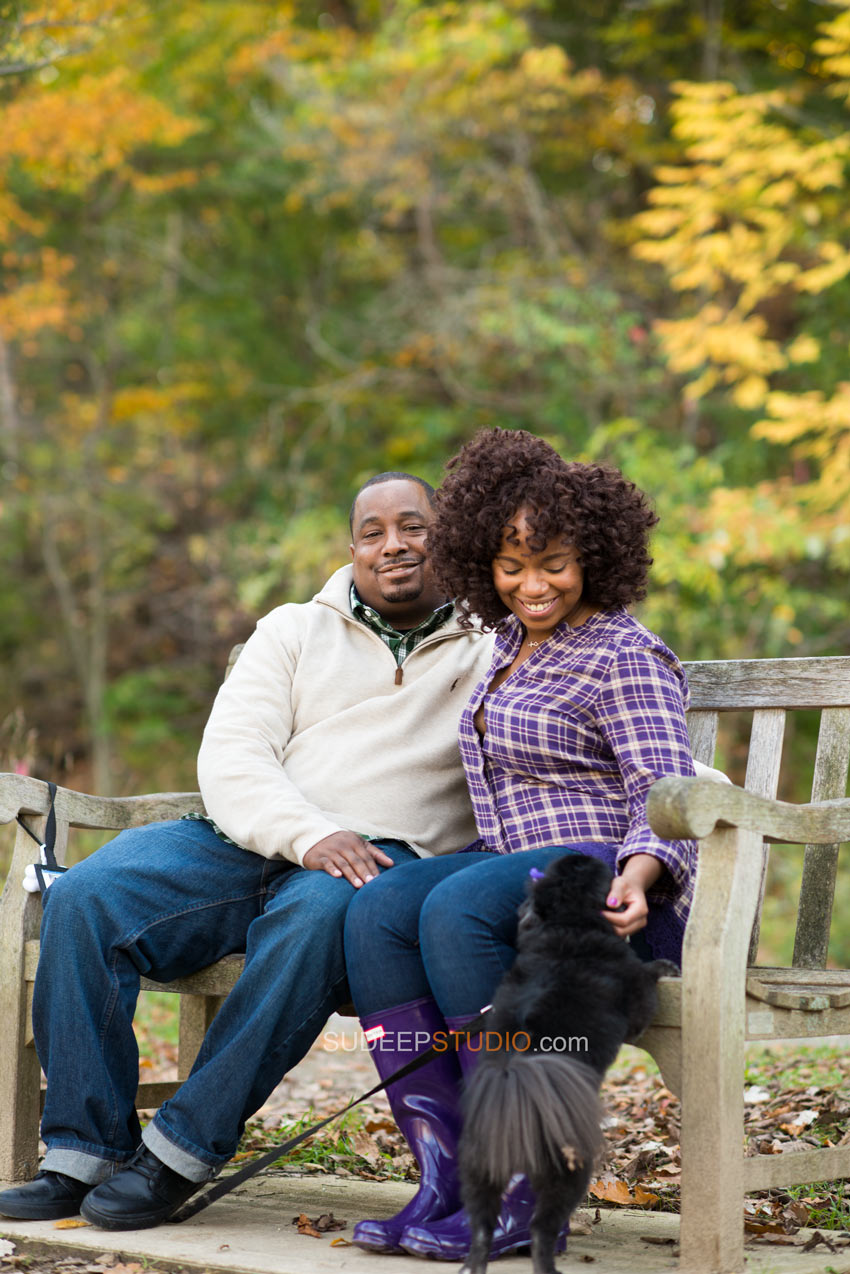 Nichols Arboretum Fall Engagement Photography Session with Puppy - Sudeep Studio.com Ann Arbor Photographer