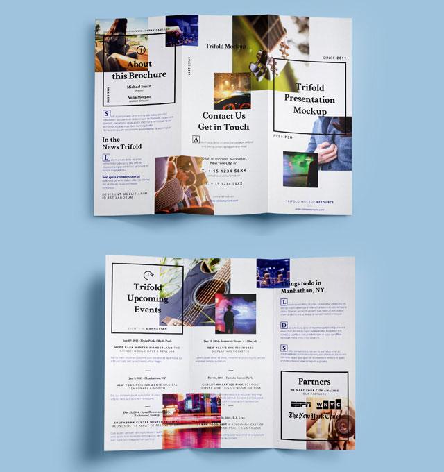 Psd Tri Fold Brochure Mockup