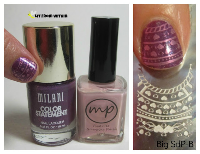 What I used:  Milani Ultra Violet, MPolish Apple Blossom, and stamping plate Big SdP-B.