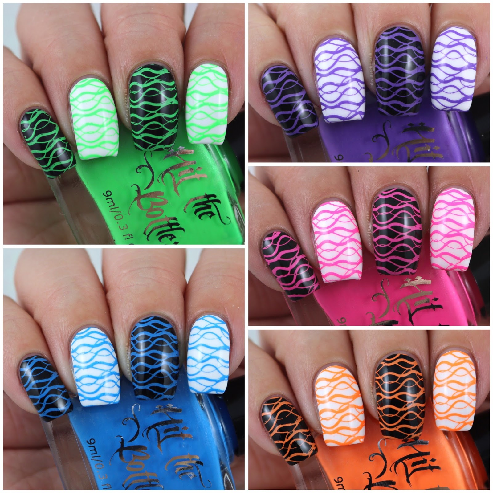 Olivia Jade Nails: Hit The Bottle Pour Some Neon On Me! Stamping ...