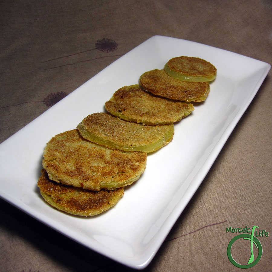 Morsels of Life - Fried Green Tomatoes - Green tomatoes, dipped in buttermilk and cornmeal, then fried into golden brown and crispy fried green tomatoes.