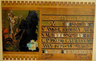 Diploma de campeón de ajedrez de Catalunya 1933/34