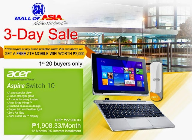 Get a Free ZTE Mobile Wifi Worth 2000 pesos at PC Express MOA 3-Day Sale on September 19 to 21, 2004