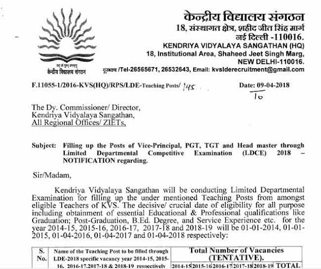 KVS Recruitment 2018 for Various Posts [PDF] - APPLY NOW - Exam Tyaari
