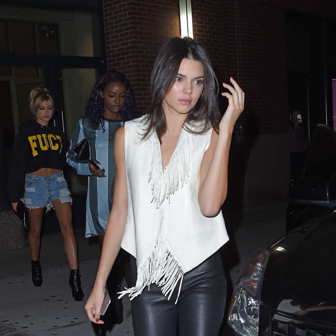Kendall Jenner rocks leather leggings and snakeskin boots in NYC