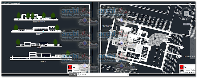 Vertical projections of the project (sections ( Urban hall exhibition dwg