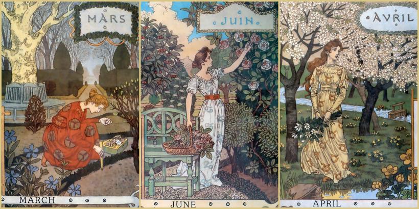 calendario 1896 de Eugene Grasset La Belle Jardiniere (La Bella Jardinera)