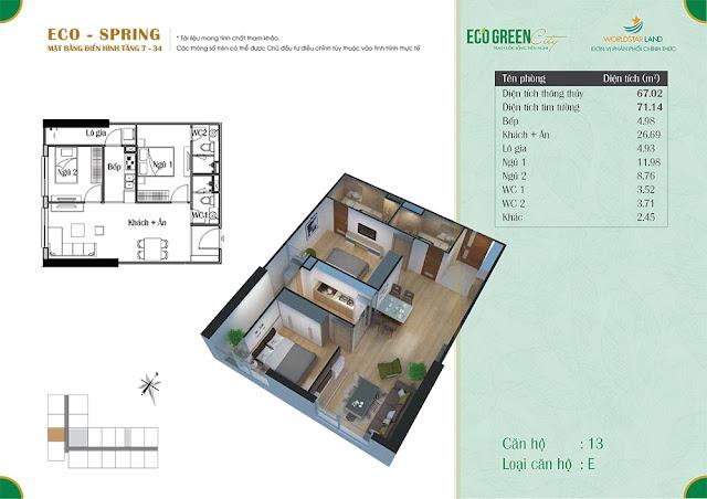 Căn hộ 13 tòa Eco Spring
