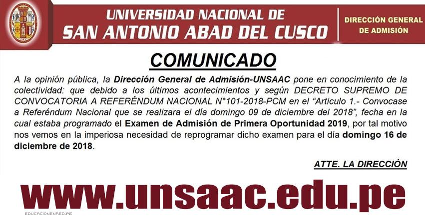 COMUNICADO UNSAAC: Examen Admisión Primera Oportunidad 2019, se realizará el Domingo 16 de Diciembre - www.unsaac.edu.pe
