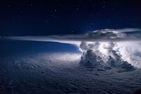 Storm seen from plane above Pacific Ocean