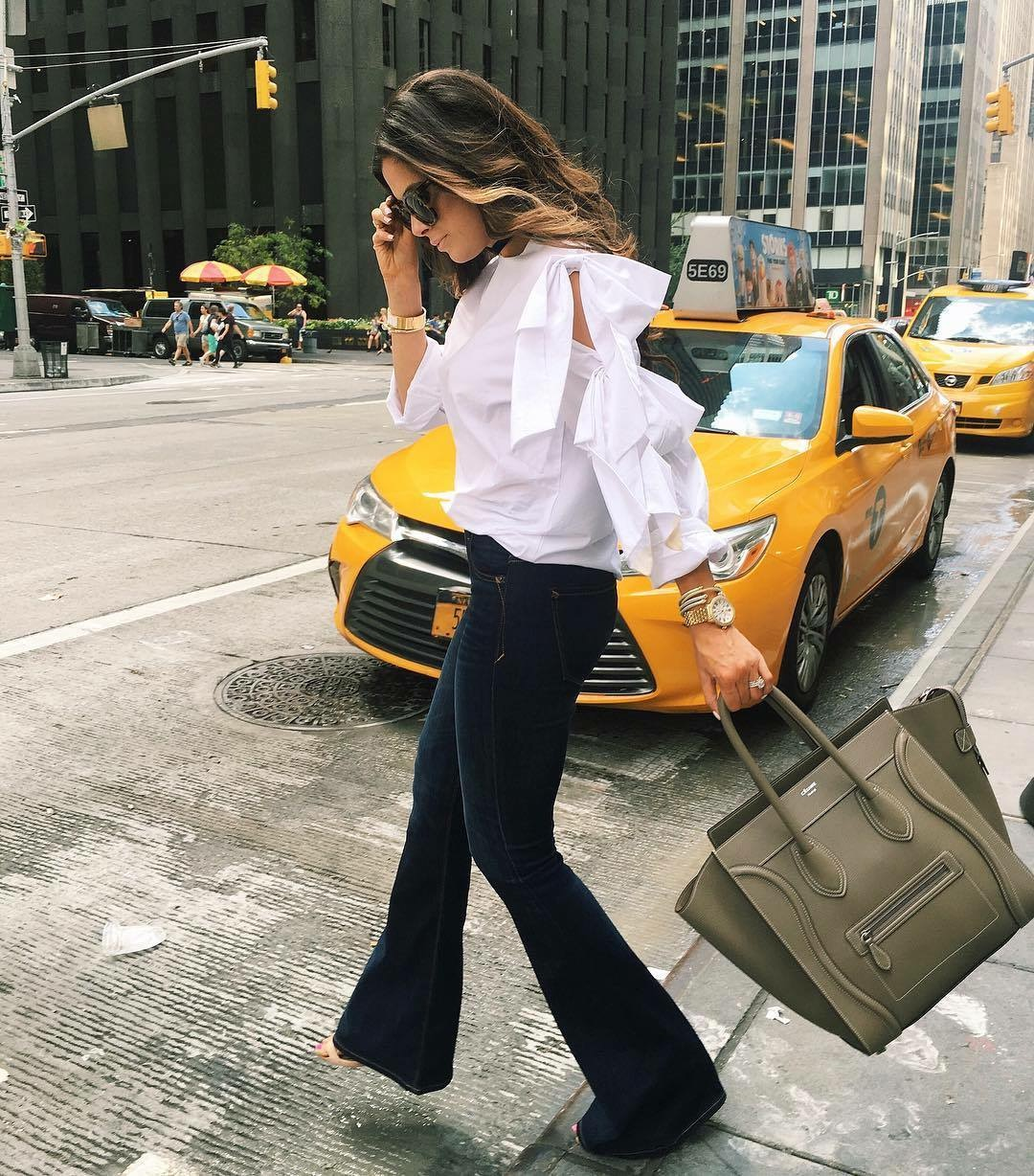 emily gemma, the sweetest thing blog, emily gemma fashion week, NYFW street style 2016, Storets bow top, express flared jeans review, how to style flare jeans, flare jeans outfit for fall, pinterest flare jeans