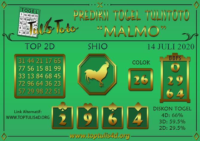 Prediksi Togel MALMO TULISTOTO 14 JULI 2020