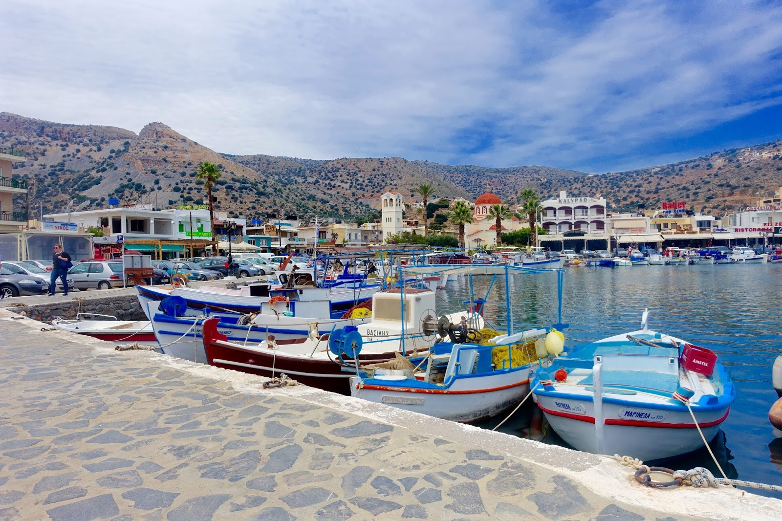 elounda port with boats