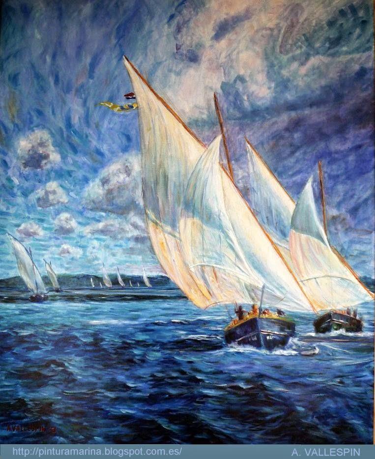 Pintura de un barco navegando con vela latina