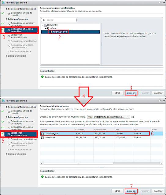 VMware 6.5.0: Crear una nueva máquina virtual - Seleccionar un almacenamiento.