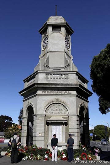 Taradale locals and visitors, young and old alike, commemorated Anzac Day at the Taradale Memorial Clock Tower and the Taradale and District RSA. photograph