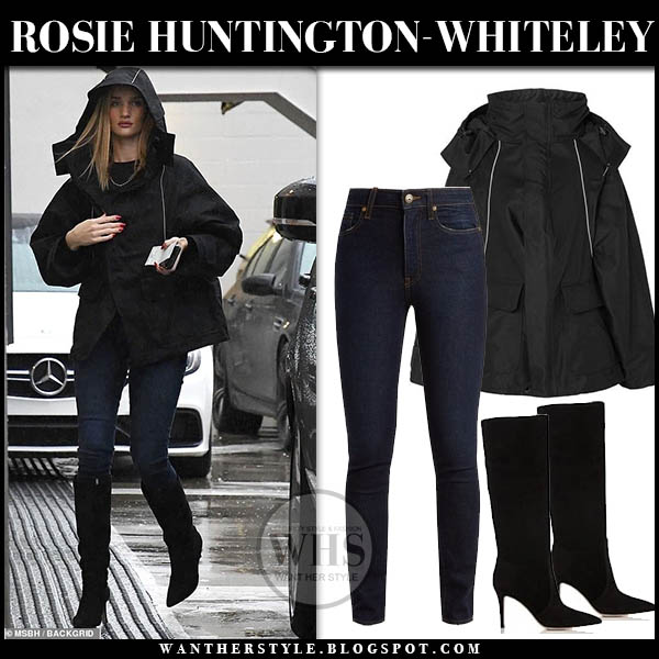 Rosie Huntington-Whiteley wears black hooded balenciaga parka and knee high gianvito rossi boots rain weather outfit february 2019