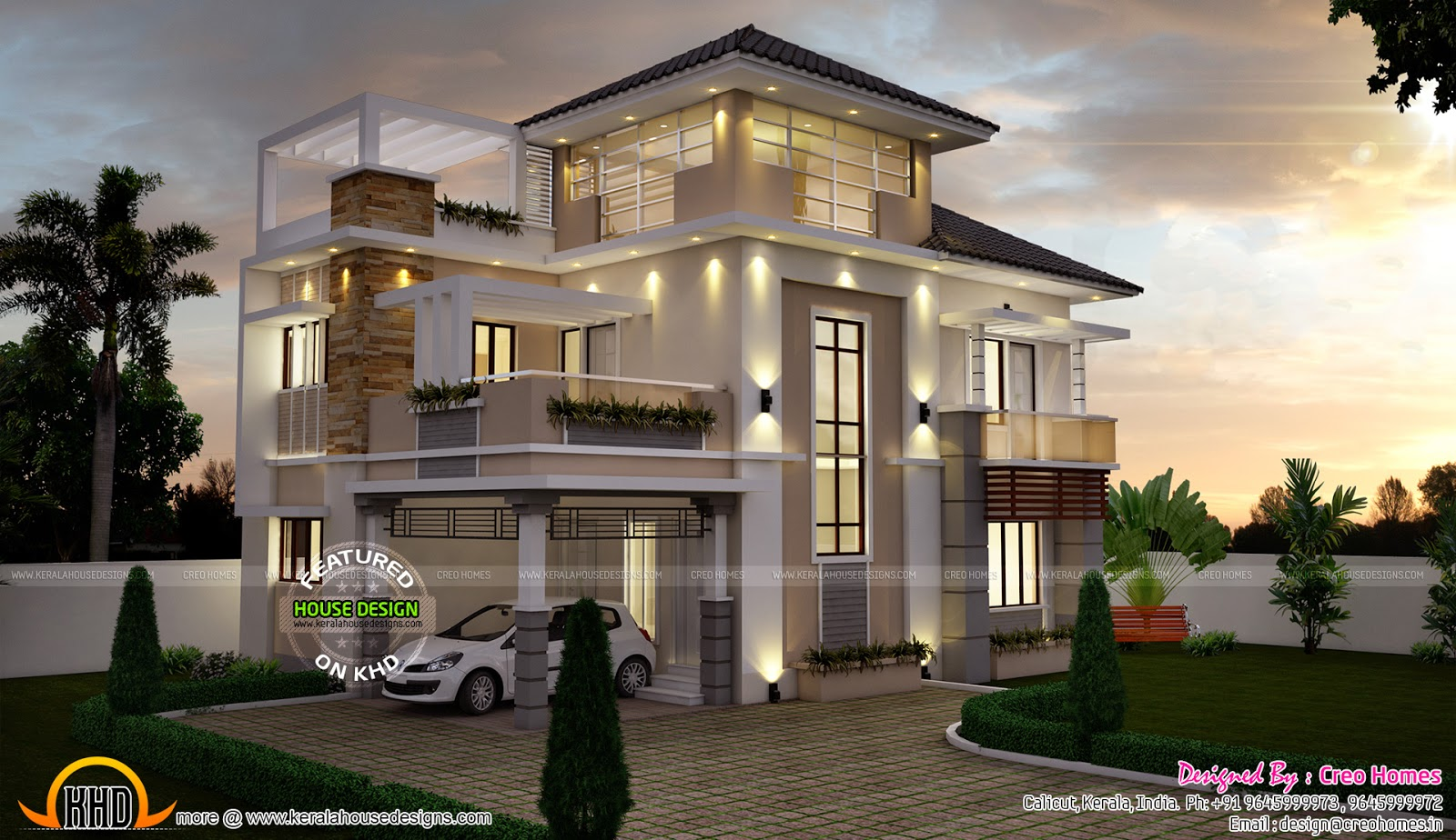 Super stylish contemporary house kerala home design and for Modern house designs and floor plans in india