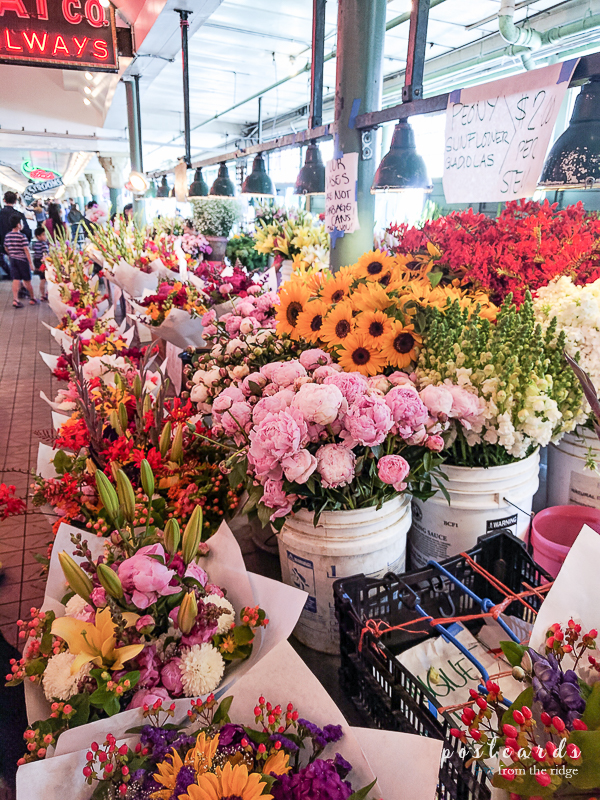 Flower market inside Pike Place market, Seattle
