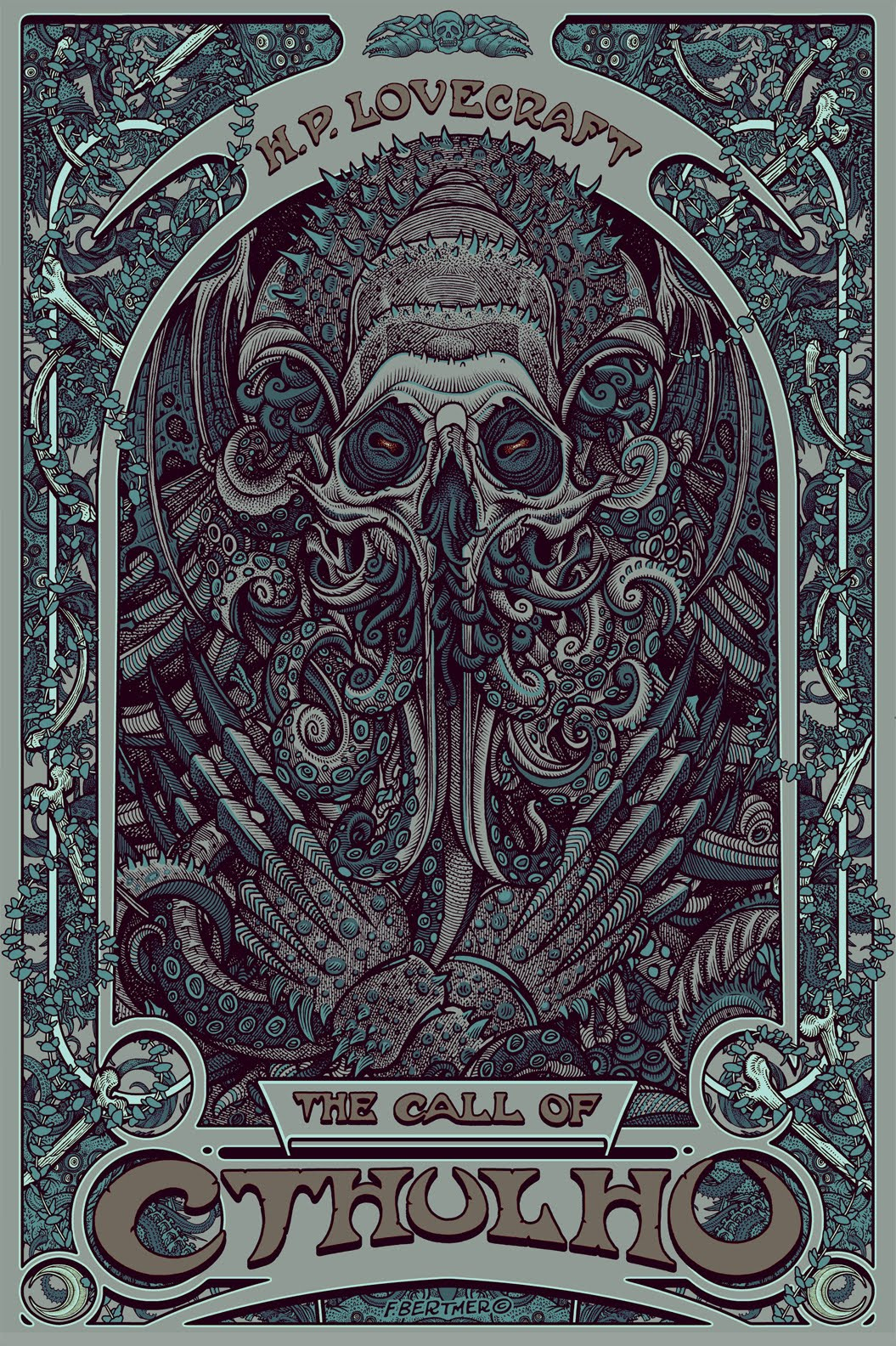 cthulhu call florian bertmer nouveau lovecraft poster prints hp artwork craft cthulu posters painting paradise lost artist illustration