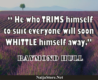 Raymond Hull - He who TRIMS himself to suit everyone will soon WHITTLE himself away - Quotes