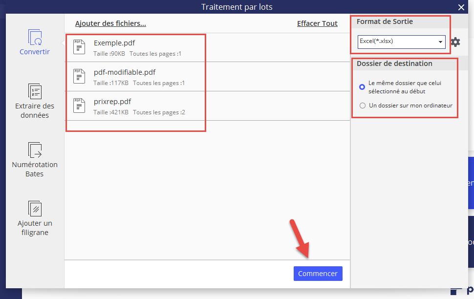 Conversion PDF en Excel par lots