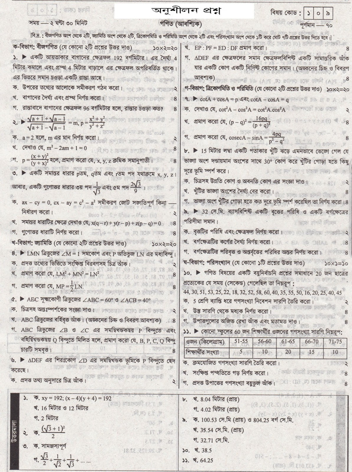 PSC,JSC,SSC,HSC,BCS and Others exam Suggestions Collection