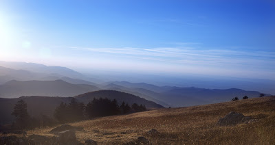 Pic of Blue Mountains view with mist and blue sky