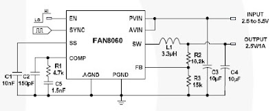 2.5V 1A dc converter circuit with FAN8060