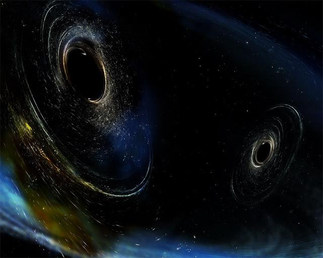 ilustração - Close-up de dois buracos negros que estão prestes a se fundir