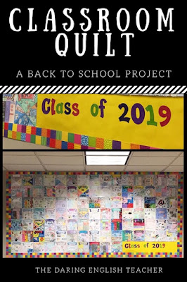 Build classroom culture the first week back to school by creating a classroom quilt. Each student receives a square. The outcome is beautiful!