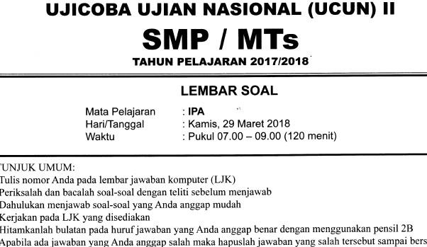 Soal UCUN II SMP Tahun 2018